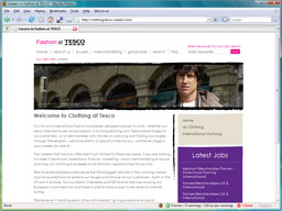 Screenshot of the Fashion at Tesco homepage