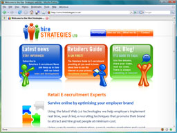 Screenshot of the new look Hire Strategies home page