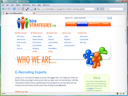 A typical inner page in the Hire Strategies site