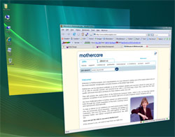 Screenshot of the Mothercare careers site